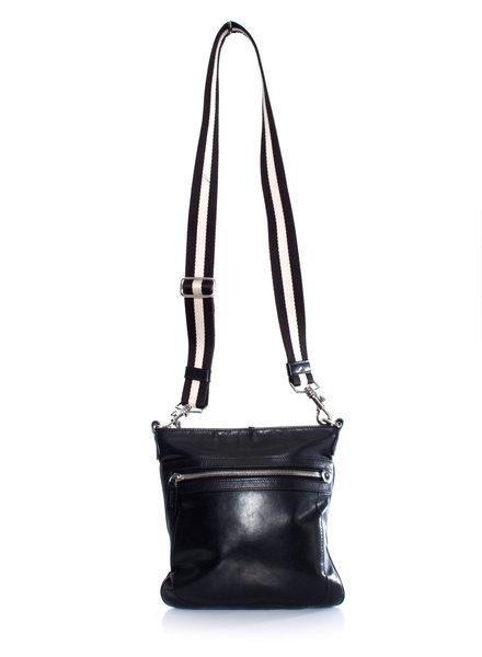 Bally, Black leather crossbody bag.