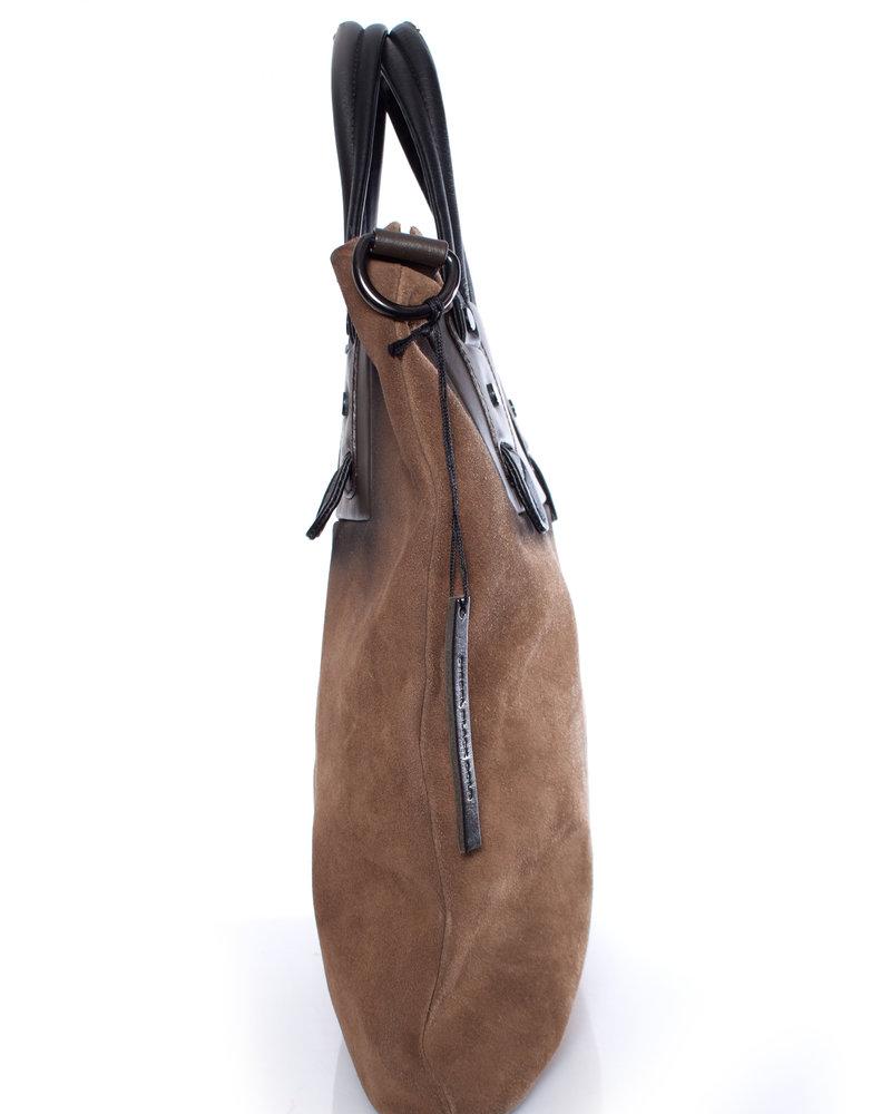 Diesel Black Gold Diesel Black Gold, brown suede bag with shoulderstrap.