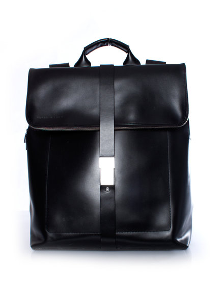 Porsche Design, Black leather backpack with silver closure.