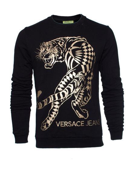 Versace Jeans Couture Versace Jeans, zwarte trui met gouden tijger.