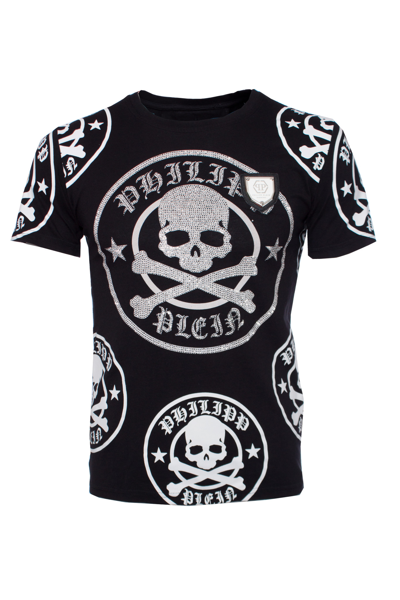 94096192e2 Philipp Plein, Black T-shirt with skull print in stones in size M. - Unique  Designer Pieces