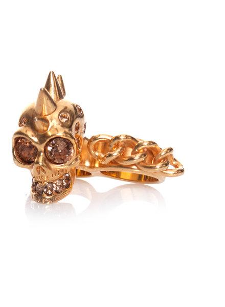 Alexander McQueen Alexander McQueen, dubbele knokkel schedelring in goud in maat 13.
