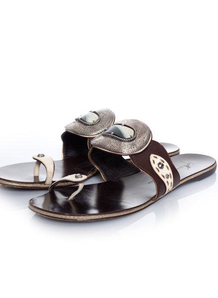 Giuseppe Zanotti Giuseppe Zanotti, bruine lederen sandalen in maat 39.5