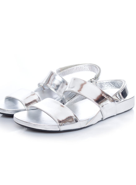 Prada Prada, Metallic double-band flat sandal in size 38.5.