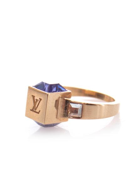 Louis Vuitton Louis Vuitton, Gold-tone metal gamble ring in size 6 .