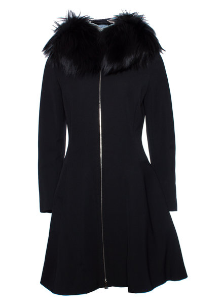 Prada Prada, Black nylon coat with hooded fur collar in size IT42/S.