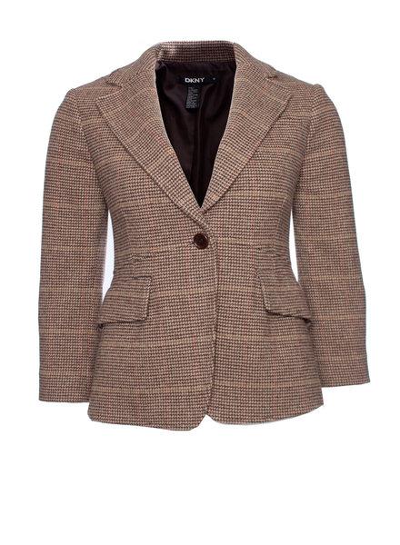 DKNY  DKNY, Vintage bruin wollen pied-de-poule blazer in maat US4/S.