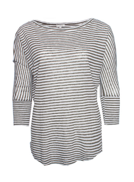 Joie Joie, Green/white striped linen top in size XS.