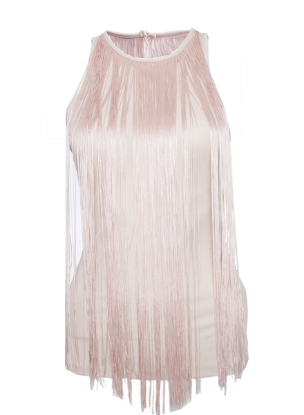 Patrizia Pepe Patrizia Pepe, Pink top with fringes and open back in size 1/S.