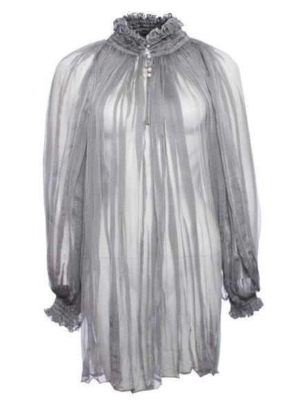 Alexander McQueen Alexander McQueen, Gray transparent romantic blouse.