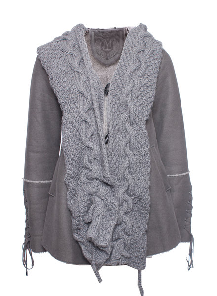 Maksar, Gray woolen jacket with knitted hood and leather loop buttons in size S.