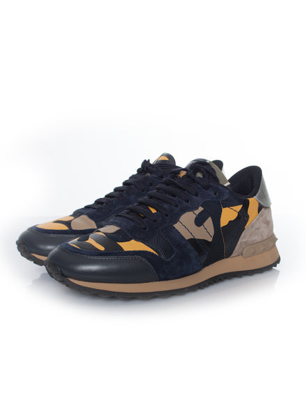 Valentino Valentino, Camouflage rockrunner sneakers in yellow/blue in size 39.