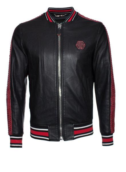 "Philipp Plein Philipp Plein, Black leather ""Reginald"" Bomber jacket in size M."