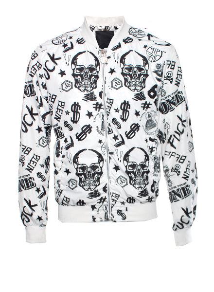 Philipp Plein Philipp plein white bomber with black dollar/skull/text sketching in size L.