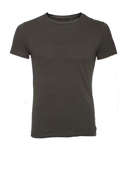 Calvin Klein Calvin Klein, Groen T-shirt met logo in relief in maat S.