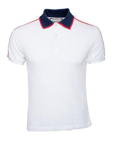 Gucci Gucci, White polo with blue collar and red stripes in size S.