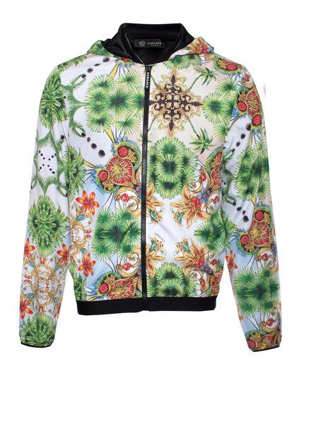 Gianni Versace Versace beachwear, Tropical Palm tree hooded windjack in size IT48/M.