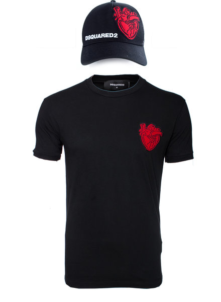 Dsquared2 Dsquared2, T-shirt and cap with red heart in size M.