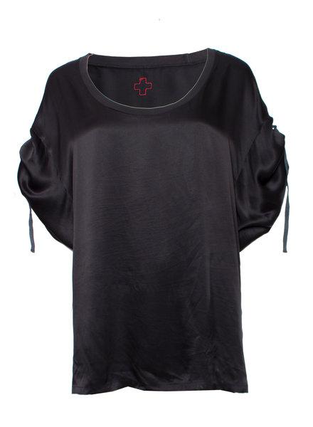 A.f. vandevorst, Black oversized shiny cotton top in size S.