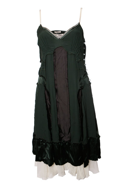 Chloé Chloe, Green silk inverted dress with undergown in size S.