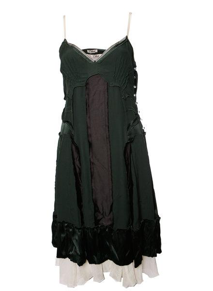 Chloé Chloe, Groen zijde omgekeerde jurk met onderjurkje in maat S.