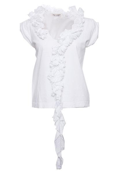 Comme des garçons Comme des Garcons, Vintage witte top met rouges rond de nek in maat S.