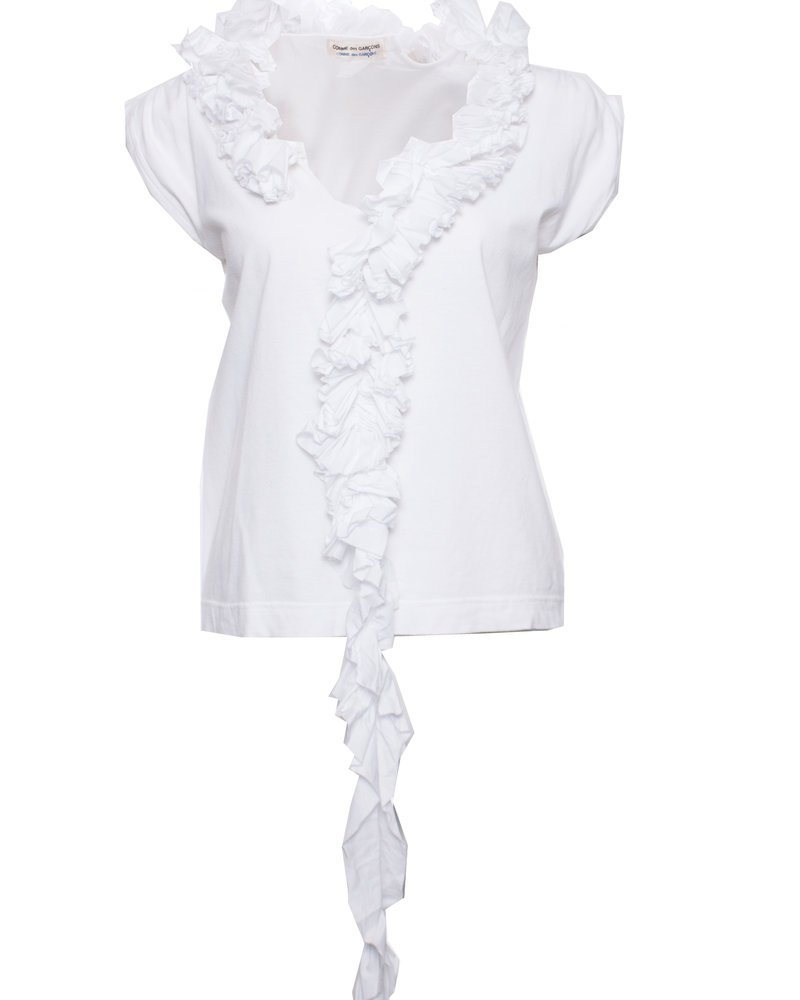 Comme des garçons Comme des Garcons, Vintage white top with rouges around the neck in size S.