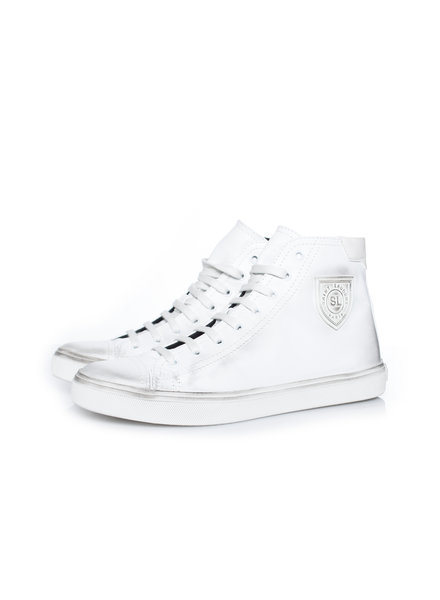 Saint Laurent Saint Laurent, Bedford leather high-top sneakers in size 41.