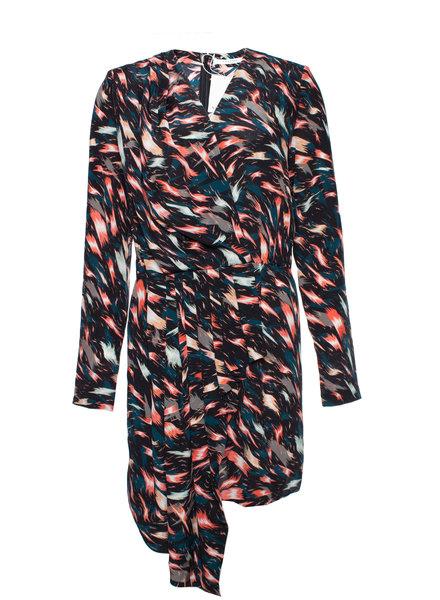 Givenchy Givenchy, veelkleurige assymetrische gedrapeerde zijden jurk in maat DE38/M.
