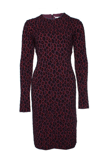 Givenchy Givenchy, Aubergine kleurige luipaard print jurk in maat S.