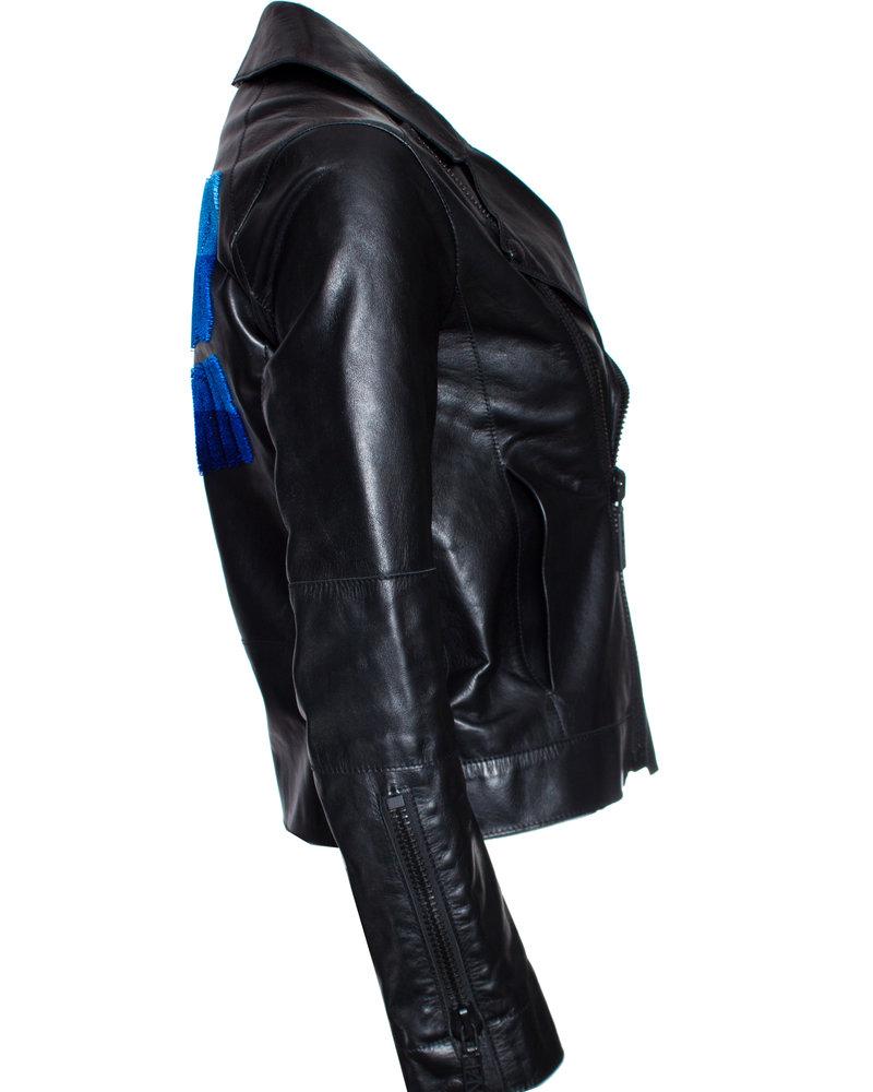 Kenzo Kenzo, Black Flocked leather biker jacket.