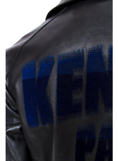 Kenzo Kenzo, Black Flocked  leather biker jacket with logo on the back in size 36/S.