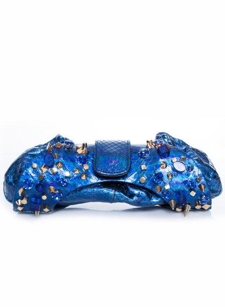 Maison Du Posh Maison Du Posh, Blue leather snakeskin pouch