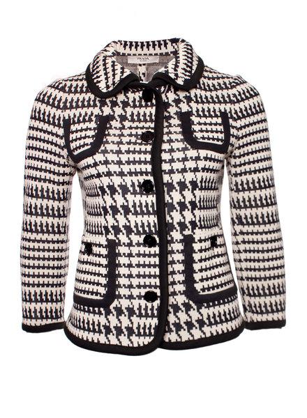 Prada Prada, black/white wool jacket with pied de poule print in size IT44/M.