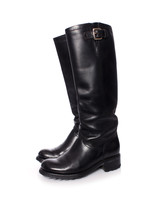 Freelance, black leather biker boots in size 38.5.