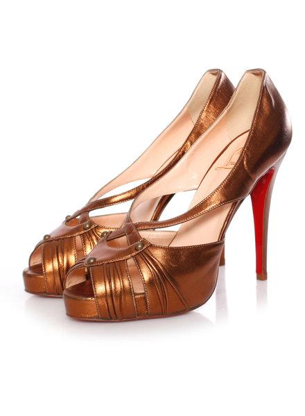 "Christian Louboutin Christian Louboutin, bronzen lederen ""Scissor Girl"" platform peep-toe pumps in maat 40.5."