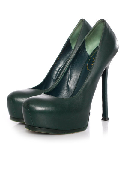 Yves Saint Laurent Yves Saint Laurent, Green leather Tribtoo platform pumps in size 40.