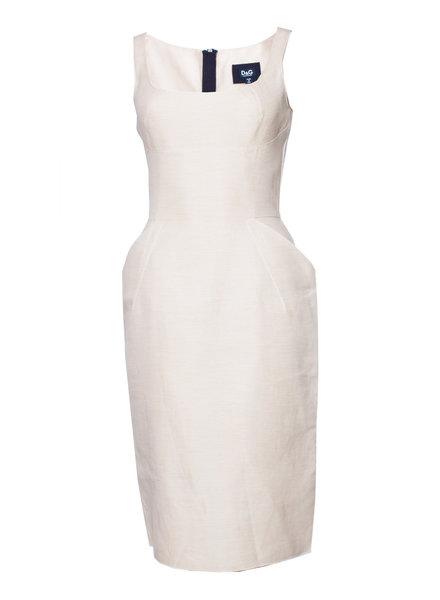 Dolce & Gabbana Dolce & Gabbana, Ecru/beige gekleurde zomerjurk met steekzakken in maat IT40/XS.