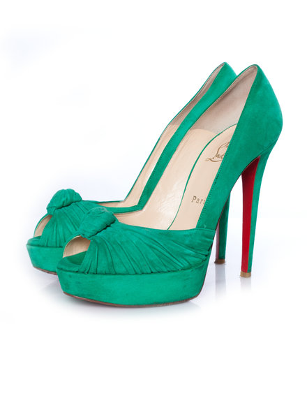 Christian Louboutin Christian Louboutin, Mint suede Greissimo pumps in maat 40.