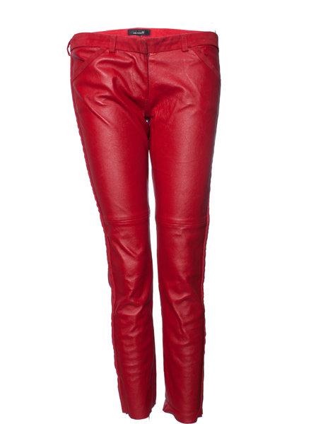 Isabel Marant Isabel Marant, rood leren stretch broek met suede belijning in maat 2.