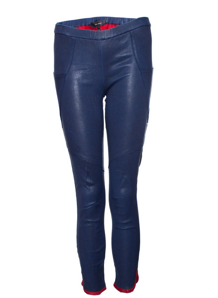Isabel Marant Isabel Marant, Blue leather leggings with red details in size FR38/S.