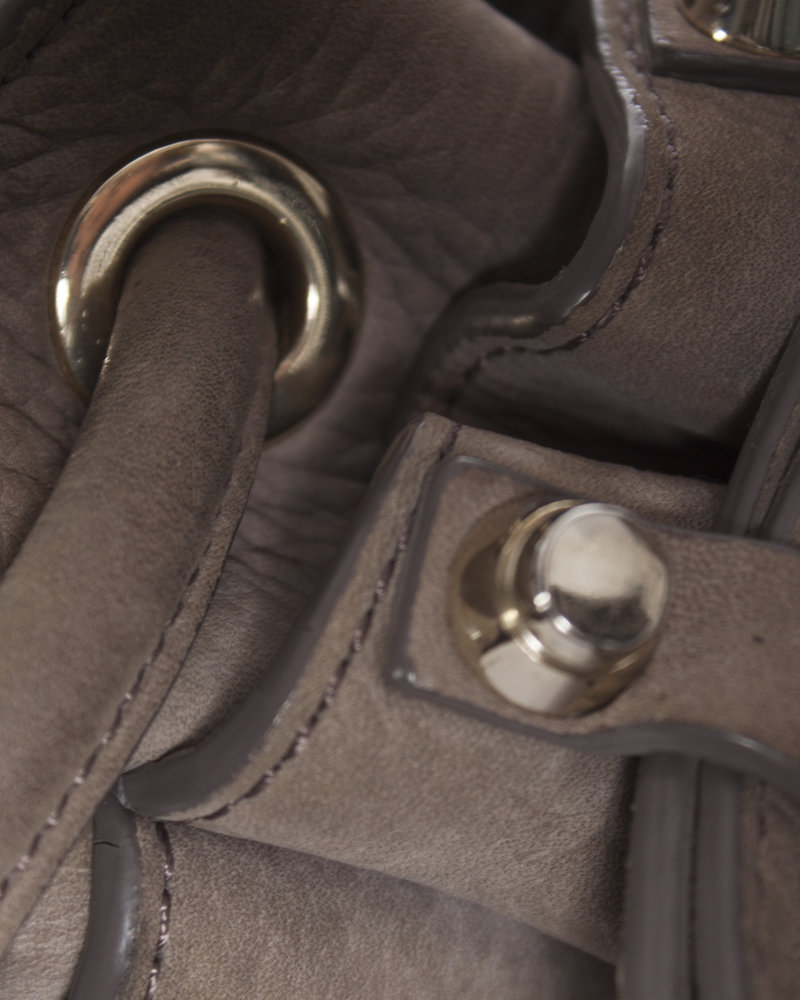 Alexander Wang Alexander Wang, Brown leather bucket bag with silver-colored hardware.