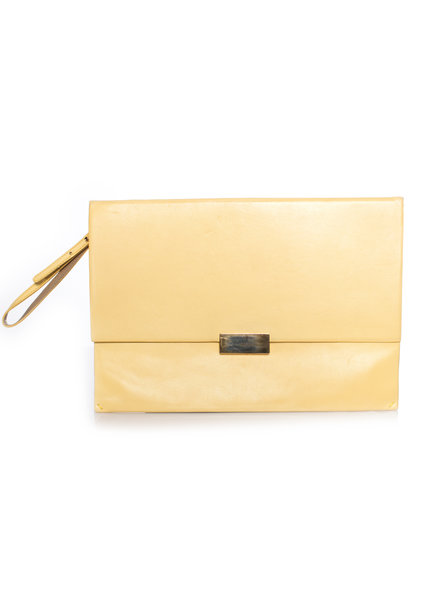 Stella McCartney Stella McCartney, geel faux lederen beckett clutch tas.