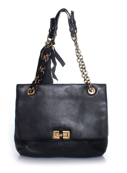 Lanvin Lanvin, black leather shoulder bag with single or double chain.