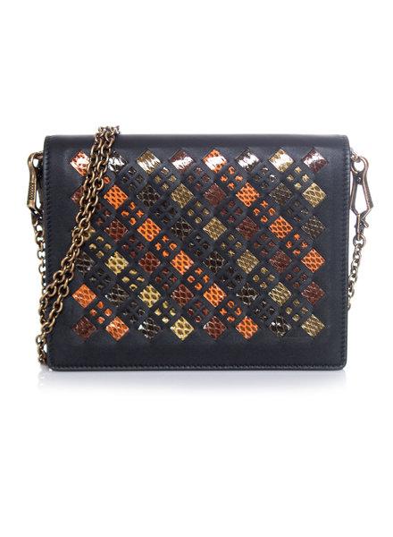 Bottega Veneta Bottega Veneta, Veelkleurige lederen portemonnee tas met ketting en slangenleer.