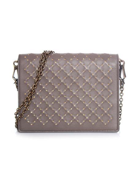 Bottega Veneta Bottega Veneta, Brown leather wallet on a chain with gold-tone lurex yarn.