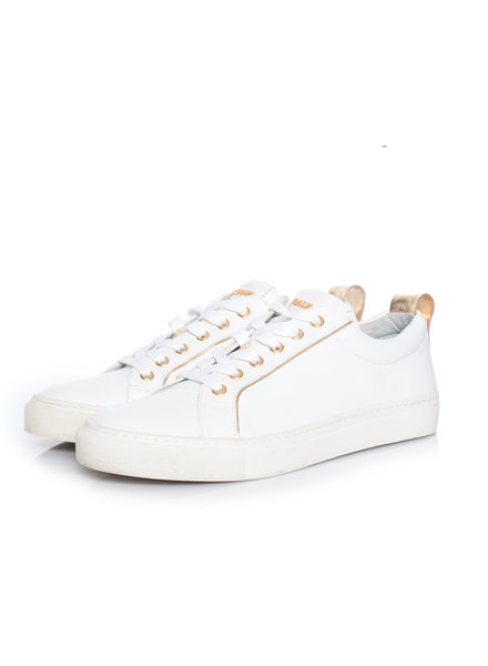 Balmain Balmain, White low-top trainers with gold piping.