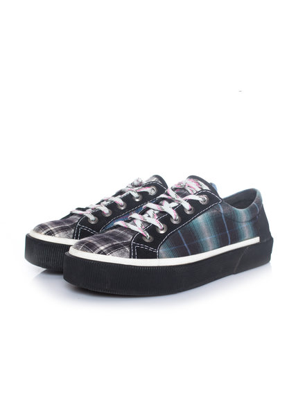 Lanvin Lanvin, checked fabric trainers in blue/green in size 7/41.