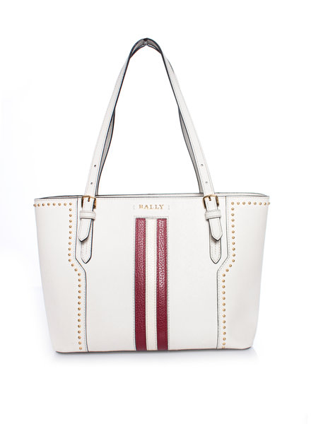 Bally Bally, leather striped Supra tote bag in white with gold studs.