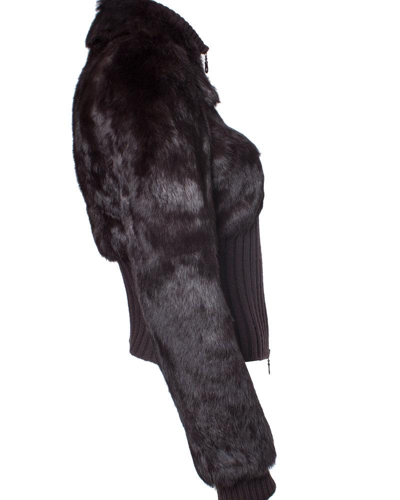 Amaya Arzuaga Amaya Arzuaga, Brown fur cardigan in size IT38/XS.